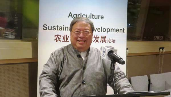 "Patrick Ho delivers opening remarks at the ""Agriculture for Sustainable Development"" event at the UN Headquarters, attended by DESA officials. July 2017. Source: Black Tie."